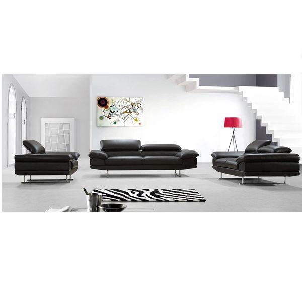 Divani Case Hollis 2 Piece Top Grain Leather Sofa Set Brown Vig