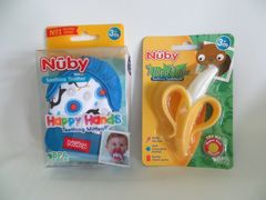 Baby Teething Mitten + Banana Teether / Toothbrush by Nuby - CHOOSE COLOR