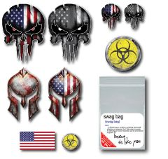 13 Pack Punisher Skull Spartan Helmet Decal Sticker Molon Labe Usa Flag Sniper