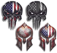 4 Pack Spartan Helmet Punisher Skull Decal Sticker Molon Labe Sniper USA Flag