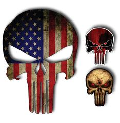 Pack of 3 Punisher Skull USA SNIPER COLOR FLAG DIE CUT VINYL DECAL STICKER JDM