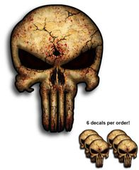 6 pack Punisher Skull Decal Yeti Phone Case Sticker Car USA Army Sniper Military