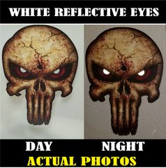White Reflective Eyes Punisher Skull Decal American Flag Sticker Car Truck USA Army Sniper Military