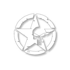 White US Army Star Punisher Skull Vinyl Decal