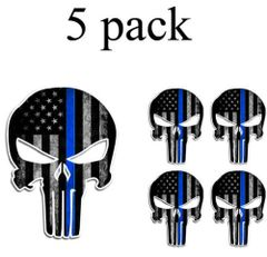 5 PK PUNISHER THIN BLUE LINE AMERICAN FLAG SKULL VINYL DECAL STICKER JDM POLICE