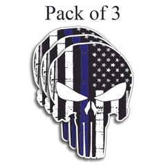 PACK OF 3 PUNISHER AMERICAN USA SNIPER BLM FLAG SKULL BLUE LIVES MATTER DECAL STICKER