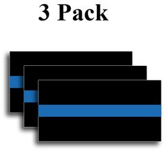"2"" x 4"" Reflective Thin Blue Line Sticker Decal Police Support 3M Fallen Officer"