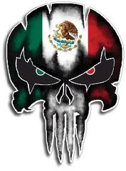Mexico Punisher Skull Vinyl Decal Sticker Jeep Truck Car
