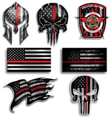 Red Lives Matter American Flag Firefighter Decal Sticker Thin Red Line USA Flag