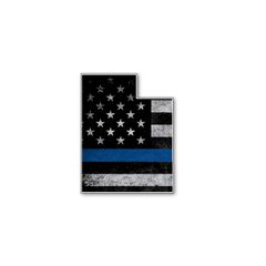 Utah Thin blue line State Shaped Subdued flag vinyl decal sticker