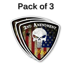 3 PACK Grunge 2nd Amendment Punisher Skull Vinyl Flag USA Sticker Decal
