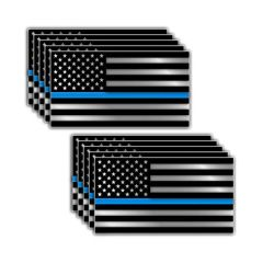 PACK OF 10 Thin Blue Line Blue Lives Matter Police Supporter Flag Vinyl Decal