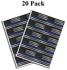 "20 pack of Flag Thin Blue Line Police Officer BLM American Flag vinyl decal Blue Lives Matter sticker Car Truck 1.75"" x 2.5"""