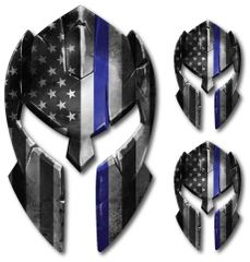 3 pk Molon Labe Spartan Helmet Police Officer American Flag Thin Blue Line decal sticker