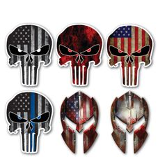 6 pack Punisher Skull Decal Laptop Car 3d Sticker Car USA Army Sniper Military