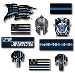 10 Thin Blue Line Decal Sticker Police Officer American Flag Blue Lives Matter