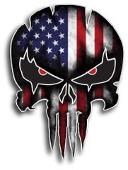"USA PUNISHER SKULL American Flag Vinyl Decal Stickers Car Truck Sniper Marines Army Navy Military Jeep Graphic 4.5"" x 6.5"""