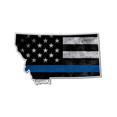 Montana Thin blue line State Shaped Subdued flag vinyl decal sticker