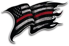 Red Lives Matter American Flag Firefighter Decal Sticker Thin Red Line USA