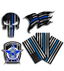 6 Pack Thin Blue Line Decal Sticker Variety Pack American Flag Blue Lives Matter