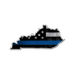 Kentucky Thin blue line State Shaped Subdued flag vinyl decal sticker