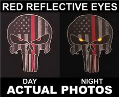 Thin Red Line Punisher Skull Decal Sticker Firefighter Department Fireman Helmet