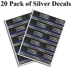 "20 pack of SILVER Flag Thin Blue Line Police Officer BLM American Distressed Flag vinyl decal Blue Lives Matter sticker Car Truck 1.3"" x 2.5"""