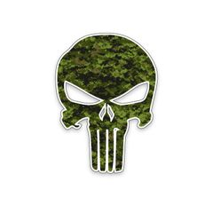 Camo Punisher Skull Vinyl Sticker Decal