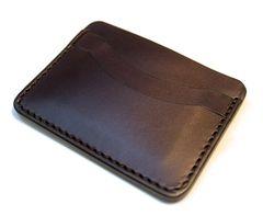 Leather card holder - dark brown