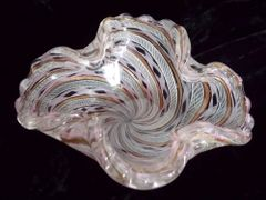 Mid Century MURANO Zanfirico Ribbon Scalloped Bowl or Ashtray