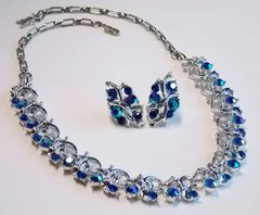 Vintage Silver-tone AB Blue Rhinestone Necklace/Earring Set - Signed STAR