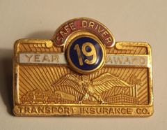 Transport Insurance Co. 19 Year Safe Driver Award Pin - Robbins Co.