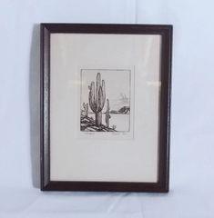 Richardson Rome Etching GIANT SAGUARO – Framed
