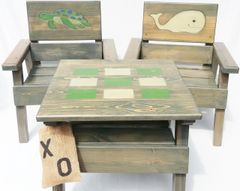 Nautical Table and Chairs, Kids Wood Furniture Boy / Girl, Outdoor