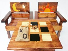 Farmhouse Table and Chair Set for Kids, 3-piece Game Table and Chairs, Sun & Moon Design