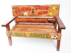 Childrens Custom Memorial Message Wood Bench Outdoor Patio Furniture, Painted & Engraved