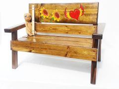 Kids Outdoor Wood Bench Sunflower and Flying Heart Design