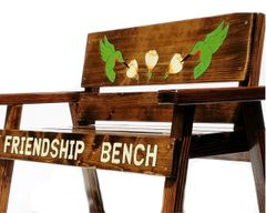 Country Garden Wood Friendship Bench for Kids Engraved and Painted