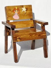 Solid Wood Princess Chair Toddler Gift, Kids Outdoor Furniture