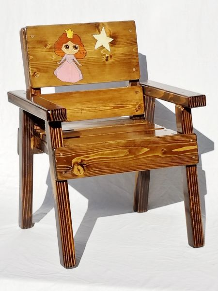 Solid Wood Princess Chair Toddler Gift, Kids Outdoor Furniture - Princess Chair Toddler Gift For Girl, Kids Outdoor Wood Furniture