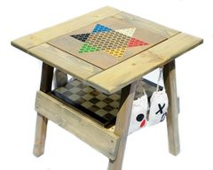 4 Wood Games, Chinese Checkers, Backgammon Game, Checkers / Chess Table, TicTacToe, Painted Furniture, Reclaimed Wood