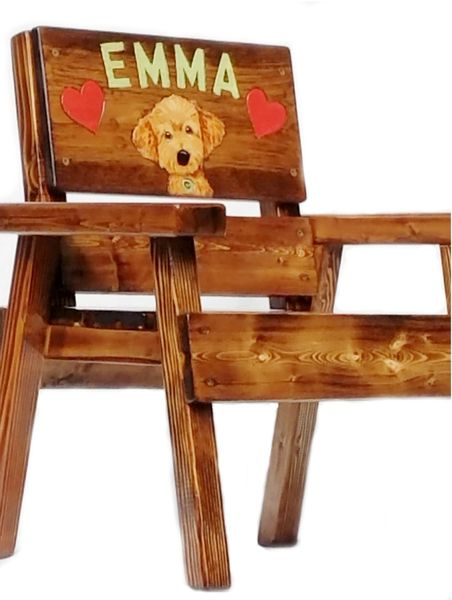 Kids Wood Chair Goldendoodle Personalized Design Indoor / Outdoor ...