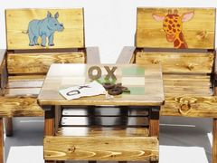Safari Animals Table and Chairs, Boy / Girl Childrens Wood Furniture Outdoor