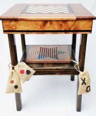 Farmhouse Game Table 4 Games Backgammon, Chinese Checkers, Checkers/Chess, TicTacToe Table Design