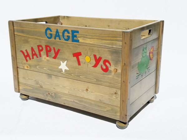 Large Wood Toy Box Storage Chest Personalized Gift Boy Or Girl