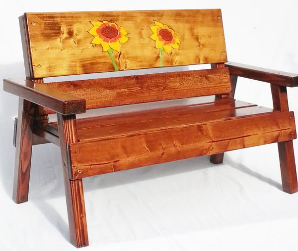 Country Bench Kids Wood Furniture Sunflower Design - Country Garden Kids Bench Outdoor Furniture / Sunflower Design