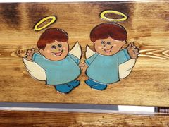 Custom Memorial Chair, Painted & Engraved Twin Angels