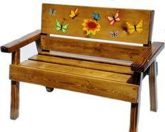 Kids Wood Farmhouse Bench Butterfly Design
