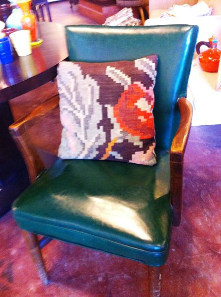 Naugahide Arm Chair w/ Solid Wood Frame in Forest Green