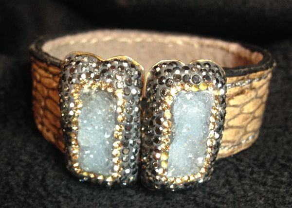 Bracelet / Cuff with Center Closing Quartz Effect Stones Surrounded by Rhinestones / Marcasite